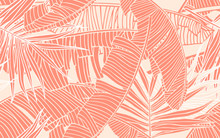 Tropical Leaves. Seamless Pattern With Banana Foliage And Palm Leaf. Design Element, Banner For Tourism And Travel Industry, Summer Sale, Print For Textile And  Texture For Fabrics.