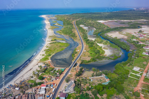 Carta da parati Aerial view of national reserve in south of Gambia, West Africa