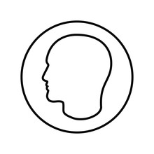Contour Male Head Graphic Icon. Head Person Linear Sign In The Circle Isolated On White Background. Outline Profile Symbol. Vector Illustration