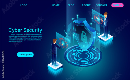 Cyber security concept banner with businessman protect data and confidentiality and data privacy protection concept with icon of a shield and lock Wallpaper Mural