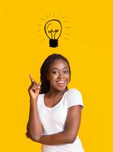 Intelligent Afro Woman Pointin...