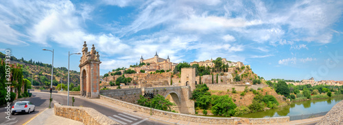 Historic old town and Alcazar on Tagus River. Toledo, Spain