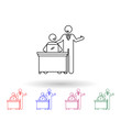 Worker with happy boss multi color icon. Simple thin line, outline vector of people in the work icons for ui and ux, website or mobile application
