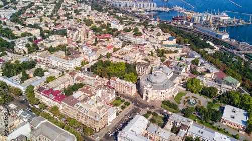 Fototapeta Aerial view of Odessa historical city centre in Ukraine obraz na płótnie