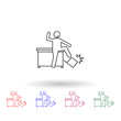 Worker is losing control multi color icon. Simple thin line, outline vector of people in the work icons for ui and ux, website or mobile application