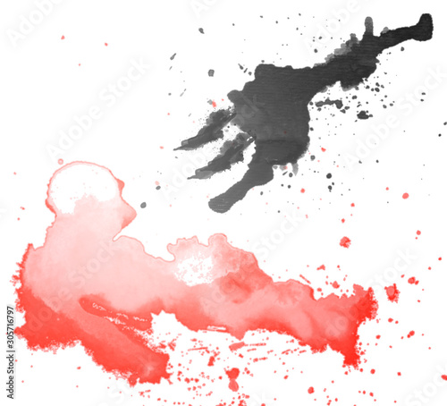Abstract art of water color brush splashing red human and Spear pierce concept The heart of a person is difficult to fathom,art of dark story © Anlomaja