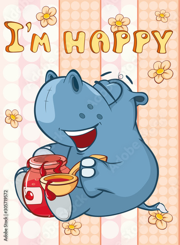 Canvas Prints Baby room Happy Birthday Card Cute Cartoon Character Hippo . Vector Greeting Card. Happy Moment. Congratulation