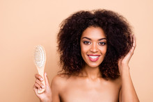 Close-up Portrait Of Her She Nice-looking Attractive Shine Lovely Gorgeous Well-groomed Cheerful Wavy-haired Girl Using Soft Wooden Comb Isolated Over Beige Pastel Background