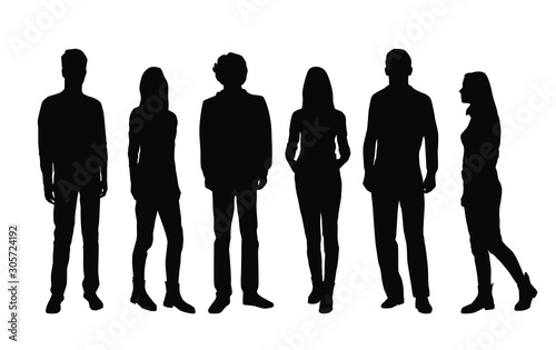 Obraz Vector silhouettes of  men and a women, a group of standing and walking business people, black color isolated on white background - fototapety do salonu