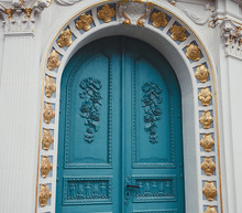 Blue Carved Wooden Door Of The Church