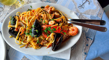 Plate Of Fettuccine With Seafood