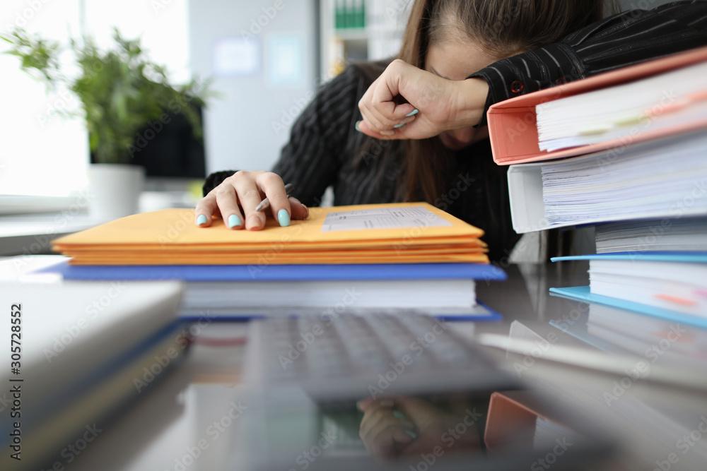 Fototapeta Young employee with headache
