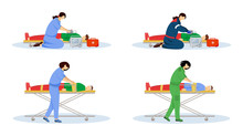 First Aid Flat Vector Illustrations Set. Emergency Doctors And Injured Patients. Urgency Care, Resuscitation. Paramedics, Emt With Defibrillator Cartoon Characters Isolated On White Background