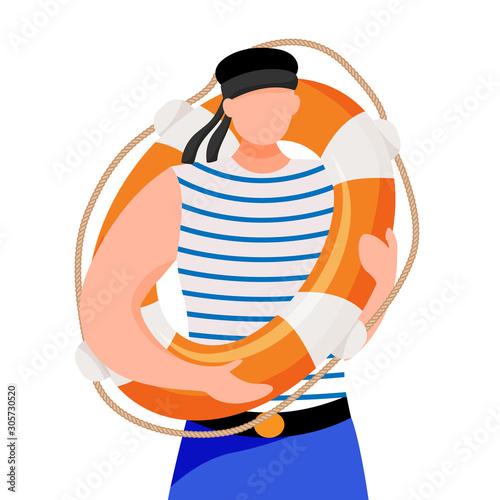 Boatswain flat vector illustration Canvas Print