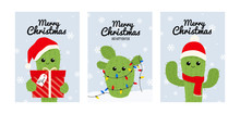 Merry Christmas Greeting Card Set With Cute Cactus. Vector Winter Postcard.