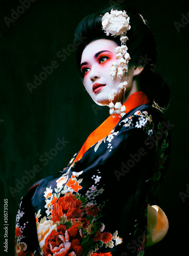 geisha in kimono on black Wallpaper Mural