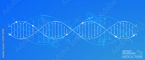 Obraz Science template, wallpaper or banner with a DNA molecules. Vector illustration. - fototapety do salonu