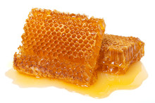 Honeycomb With Honey On White ...