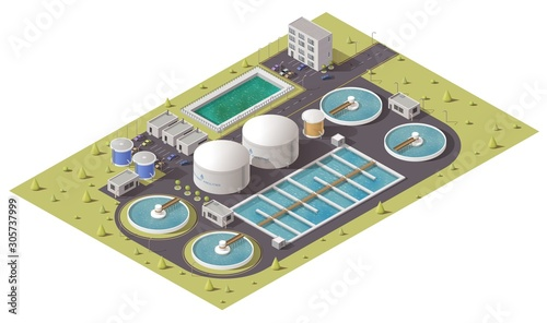 Wastewater or sewage treatment plant, water purification facilities and pumping station equipment isometric design Tablou Canvas