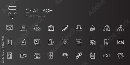 Photo attach icons set