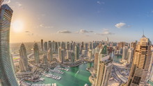 Dubai Marina Skyscrapers And Jumeirah Lake Towers View From The Top Aerial Timelapse In The United Arab Emirates.