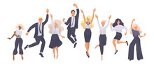 Set Of Jumping Successful Happy People In Office Wear. Modern Vector Illustration Flat Design On White Background For Web Banner, Marketing Material, Business Presentation, Online Advertising - Vector