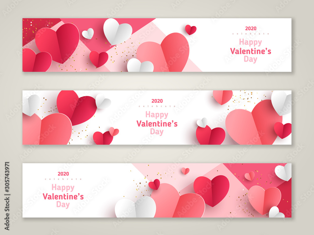 Fototapeta Valentine's day concept, horizontal banners. Vector illustration. 3d red and pink paper hearts frame. Cute love sale banner or greeting card