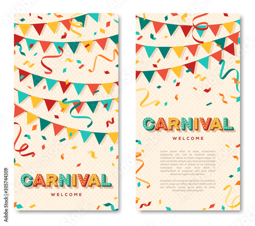 Spoed Foto op Canvas Hoogte schaal Carnival vertical banners with typography design. Vector illustration. Retro light bulbs font, streamers, confetti and hanging flag garlands.