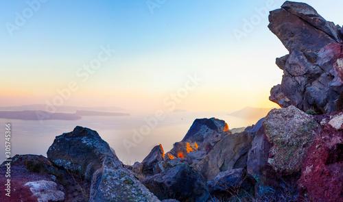 Foto auf Leinwand Aubergine lila Aegean sea and the nature of Santorini island, Greece