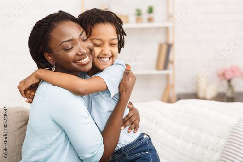 Fotografie, Tablou Satisfied black family feeling happy and joyful