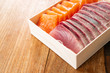 Salmon and Tuna sashimi cutting fresh and raw in Japanese style. on wooden table background, Healthy Eating and Eat Well Concept. Take away home food. Close up