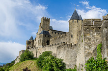 Partial View Of The Walls Of The Castle Of Carcassonne