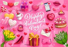 Happy Valentines Day Romantic Gifts Vector Greeting Card. Love Hearts, Chocolate And Balloons, Wedding Ring, Flower Bouquets And Letter Envelope, Cupid Arrow, Candy, Cake And Present Box With Ribbon