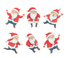 Collage Santa Claus Watercolor Illustration. Santa Claus In Different Poses. Happy New Year Illustration. Christmas Fun Costume Character. Holiday Traditional Items.