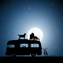 Lovers And Dog On Roof Of Retr...