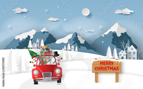 Paper art, Craft style of Santa Claus and friends in red car driving through the village, Merry Christmas and Happy New Year