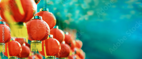 Chinese new year lanterns in chinatown. Wallpaper Mural