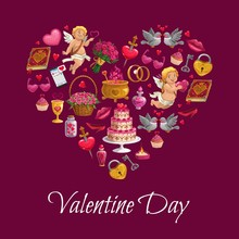 Valentine Day Heart Poster Of Cupids, Flowers And Golden Wedding Rings. Vector Valentine Calligraphy Quote With Romantic Gifts, Heart Lollipop, Dove With Love Message And Strawberry In Chocolate