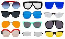 Set Of Sun Glasses On A White ...