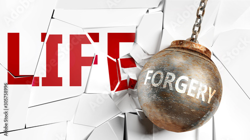 Valokuva  Forgery and life - pictured as a word Forgery and a wreck ball to symbolize that