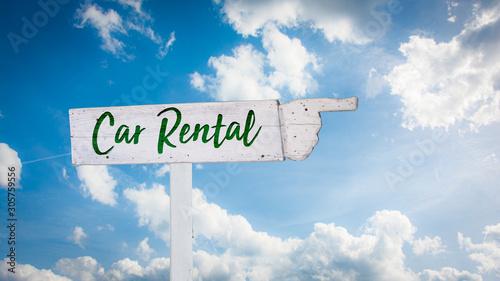 Fotomural  Street Sign Car Rental