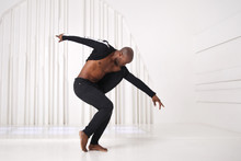 Elegant Black Man Dancer In Bl...