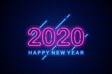 Happy 2020 New Year. Neon Gree...