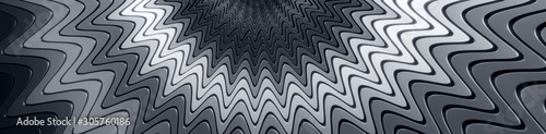 Fényképezés Wavy glossy layered grayscale background - 3D illustration