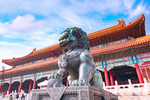 Chinese guardian Lion in Forbidden City, Beijing, China Fototapeta