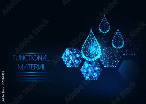 Canvastavla Futuristic functional material concept with glowing low polygonal water drops an
