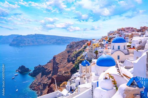 Beautiful Oia town on Santorini island, Greece Wallpaper Mural