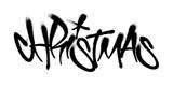 Fototapeta Młodzieżowe - Sprayed christmas tag graffiti with overspray in black over white. Vector illustration.