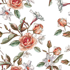 FototapetaFloral seamless pattern with watercolor yellow roses and white flowers