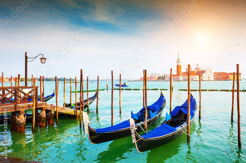 Gondolas on the Grand Canal near San Marco square in Venice, Italy. Famous travel destination